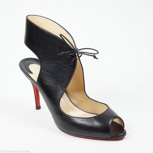 Christian Louboutin Top Nic 39.5 Lace Up Peep Toe Black Pumps