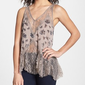 Free People Lace Gauze Sheer Top Light Stone Combo