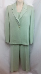 St. John St. John Collection Light Green 3-Pc. Knit Pant Suit 16