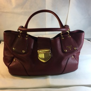 Prada Satchel in Deep Red
