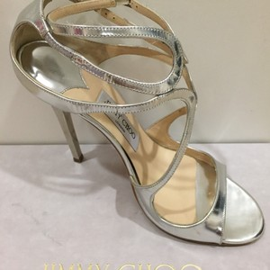 Jimmy Choo Strappy Leather Silver Mirror Sandals