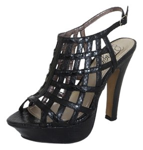 Fergie Snakeprint Vegan Leather Lattice Upper Sculpted Open Toe Heels Python black Platforms
