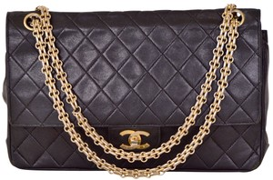 Chanel Double Flap Lambskin Quilted Shoulder Bag