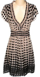 BCBGMAXAZRIA Silk Print V-neck A-line Dress