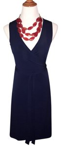 Julie Brown short dress Navy Office Wrap Sleeveless Blue Above Knee on Tradesy