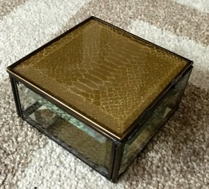 Nicole Miller Snakeskin Gold And Glass Jewerly Box