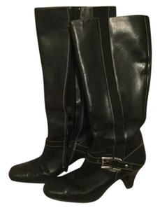 Anne Klein Leather Square Toe Buckle Tall Black Boots