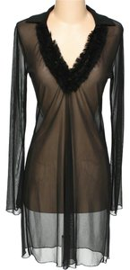 Laundry by Shelli Segal Sheer Layering V-neck Ruffle Shift Dress