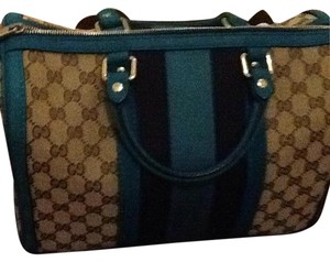 Gucci Satchel in Teal/blue with brown Gucci Logo