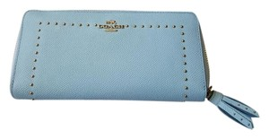 Coach Studded Leather Wallet Wristlet in Blue
