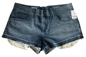 Gap Lace Pocket Jean Unfinished Five Pocket Cut Off Shorts Denim