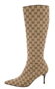 Gucci Pointed Toe Beige, Brown Boots