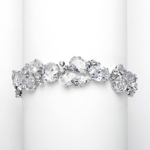 Silver/Rhodium Hollywood Glam Couture A A A Crystal Bracelet