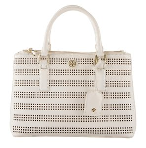 Tory Burch Gold Hardware Robinson Cut-out Logo Oversized Satchel in White, Beige, Ivory