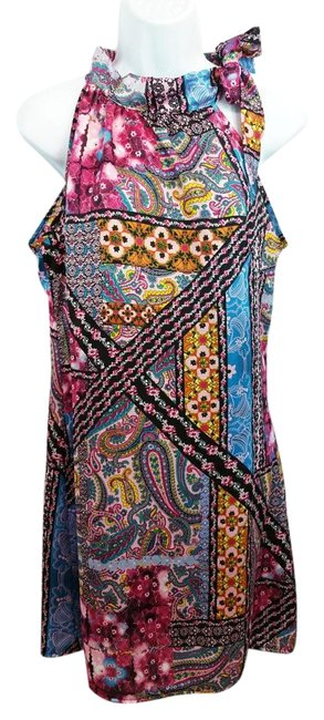 Item - Made In Itlay Multicolored Printed Shift Knee Length Short Casual Dress Size 6 (S)