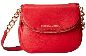 Michael Kors Bedford Chain Strap Gold Hardware Pockets Red Leather Cross Body Bag