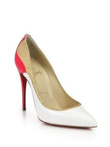 Christian Louboutin Color-blocking Glitter Pink, White, Gold Pumps