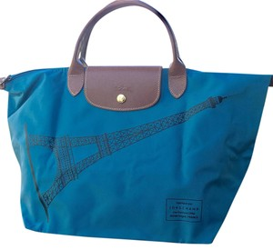 Longchamp Limited Edition Tote in Bleu Glacier