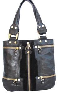Jimmy Choo Gold Hardware Monna Riri Moleskin Tote in Black