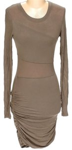 BCBGMAXAZRIA Ruched Modal Sheath Sheer Dress