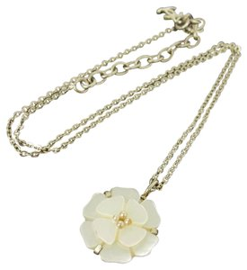 Chanel CC Silver Flower Chain Necklace