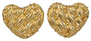 Tiffany & Co. 18k Gold Tiffany & Co Signature Heart Earrings