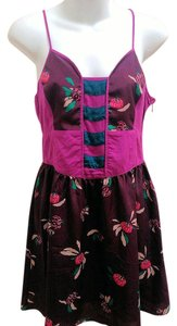 Ecote short dress Purple, Pink Spaghetti Straps Empire Waist Floral Urban Outfitters on Tradesy