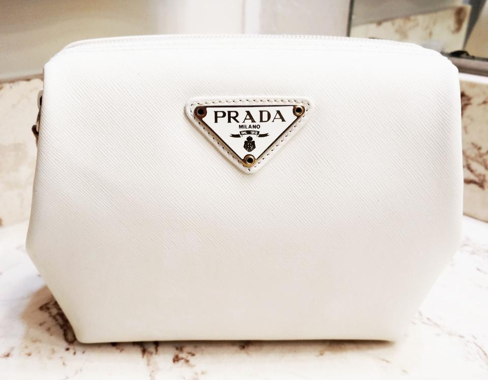 9376cb701f2b Prada White Vintage Leather Frame Pouch Case Cosmetic Bag - Tradesy