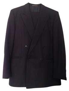 Givenchy Givenchy Muted Black Pinstripe Mens Wool Suit - Size 40, Pants - 30/32