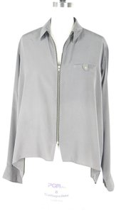 Amanda Uprichard Zip Up Tunic Silk Top grey