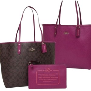 Coach Nwt New With Tags Tote in Brown / Fuchsia