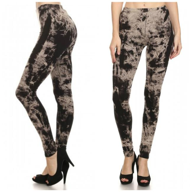 Item - Black Beige Tie Dye Large Leggings Size 12 (L, 32, 33)