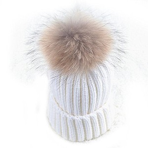 White Knit Beanie Winter Hat With Genuine Raccoon Fur Pom Pom