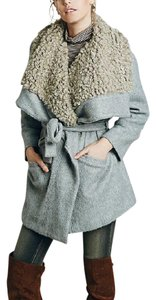 Free People Fp New Oversized Slouchy Fuzzy Wrap Belted Tan Fur Faux Quilted Winter Fur Coat