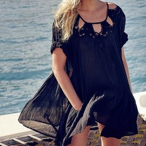 Free People Eyelet Cutout Swing Blouse Tunic