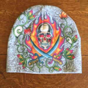 Ed Hardy Two Sword Skull Beanie