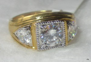 Other Mens Yellow Gold Filled 3 Stone Clear Simulated Diamond Ring Size 10