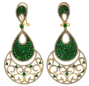 Other Emerald,And,1.86,Ct.,Diamond,18kt,Yellow,Gold,Double,Green,Teardrop,Earrings