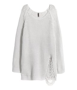 H&M Distressed Cozy Long Chunky Sweater