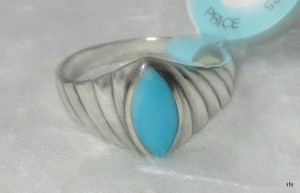 Genuine 925 Sterling Silver Natural Turquoise Gemstone Ring Size 7