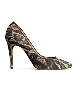 H&M Black Brown Canvas Snakeskin Black/Brown Snakeskin Pumps