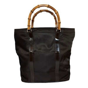 Gucci Bamboo Leather Canvas Tote in Dark Brown