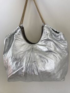 Elie Tahari Leather Silk Chain Hobo Bag