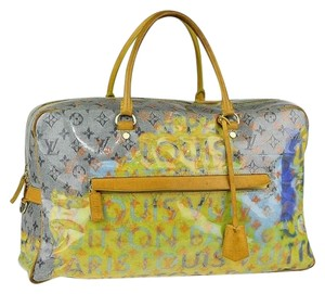 Louis Vuitton Limited Edition Monogram Blue Yellow Travel Bag