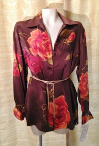 Bianca Nygard Silk Floral Tunic Top brown/ red /orange/gold/green/ multi