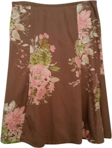 Liz Claiborne Cotton Skirt Brown Floral Print