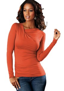 VENUS Orange Rust Twist Long Sleeve Ruched Sweater
