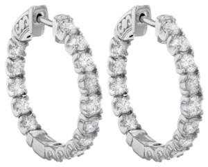 14k,White,Gold,3.5,Ct,Round,Cut,White,Diamonds,Womens,Hoop,Earrings