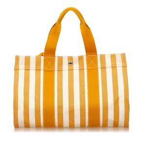 Hermès Canvas Ivory Orange Tote