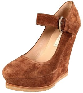 Pura Lopez Mary Jane Suede Ankle Strap Light Brown Wedges